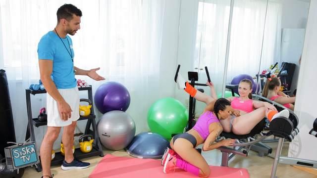 Billie Star, Lady Bug - Milf and petite nymph gym threesome